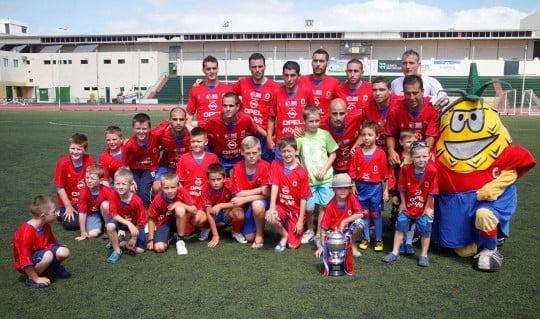 Lanzarote displaying last seasons League Champions Cup prior the game versus Corralejo