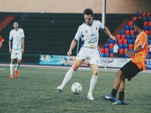 British midfielder Brad Cockerill back doing what he does best.