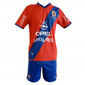 Lanzarote Football red shirt blue shorts